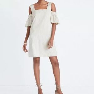 MADEWELL Striped Off The Shoulder Dress Size 4